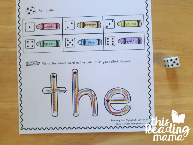 Sight Word Rainbow Roll and Write from Reading the Alphabet