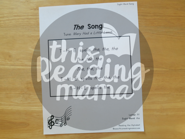 Sight Word Songs sung to the tune of a familiar song