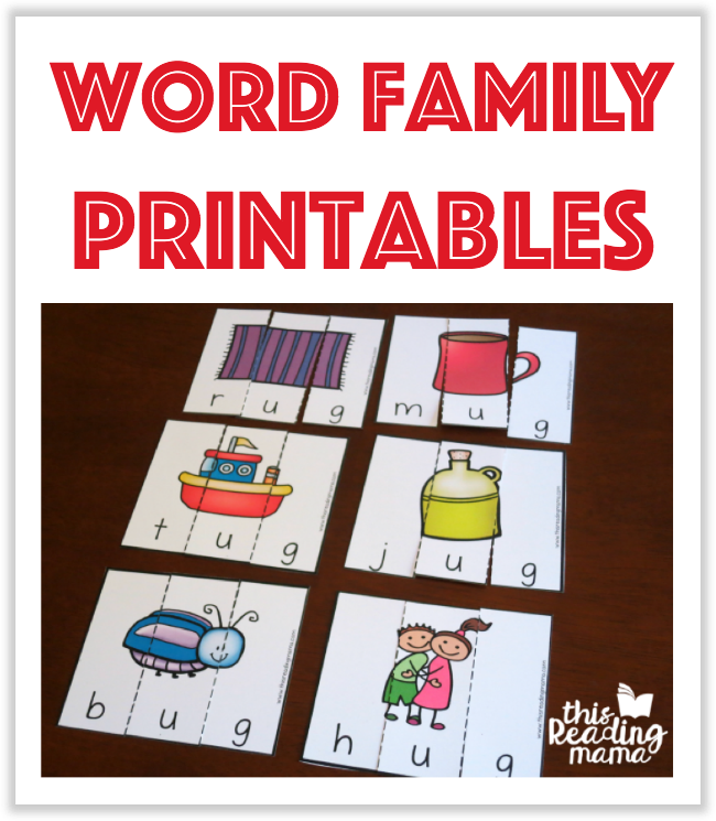 Word Family Printables from This Reading Mama