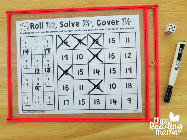 put the no prep math games in a dry erase pocket and use a dry erase marker