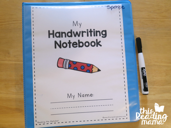 use a Handwriting Notebook to keep handwriting activities from Reading the Alphabet