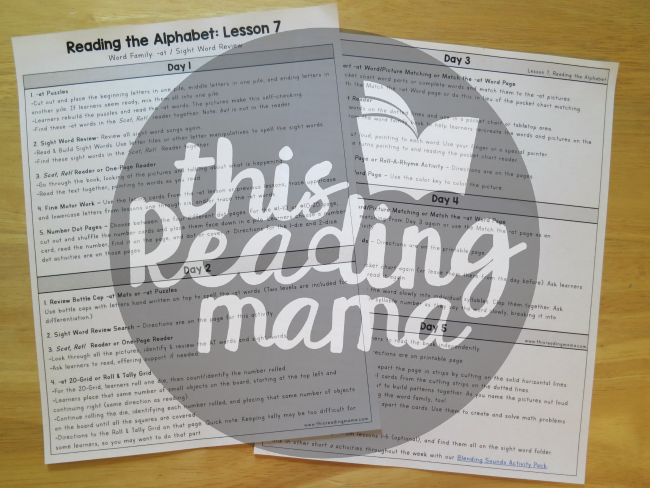 5-day lesson outlines for Reading the Alphabet word family lessons