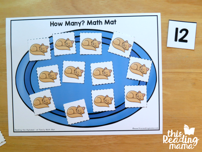 How Many? Math Mat - count the cats on the mat