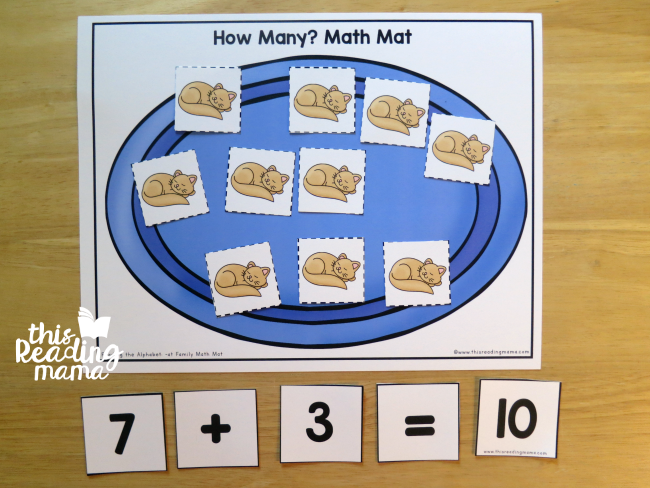 How Many? Math Mat - solve then build the number sentence