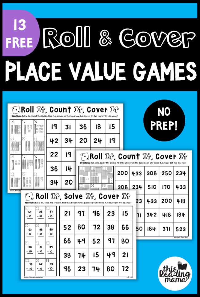 No Prep Place Value Games - Roll and Cover - This Reading Mama