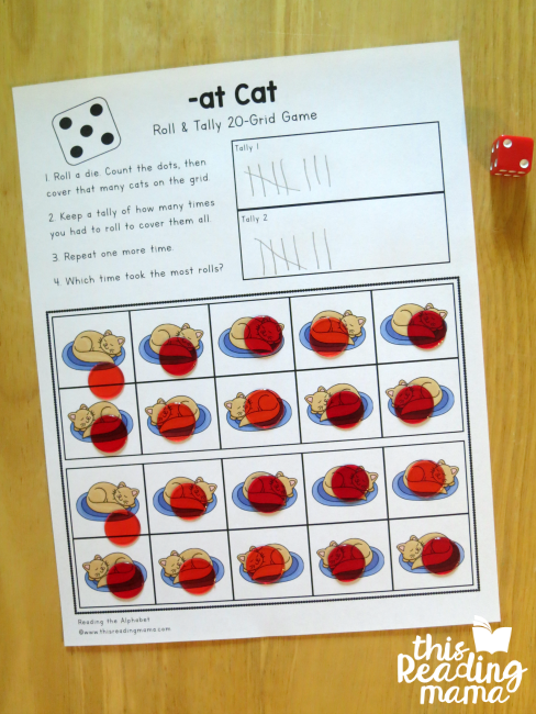 -at Cat Roll and Tally 20-Grid from Reading the Alphabet