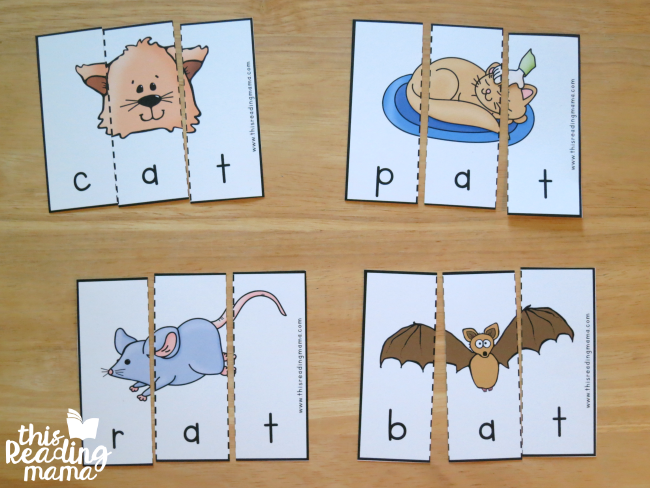 -at word family puzzles from Reading the Alphabet word family lessons