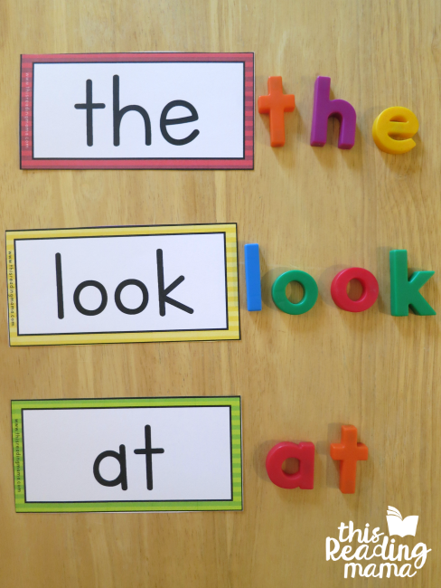 building sight words from Reading the Alphabet with magnetic letters
