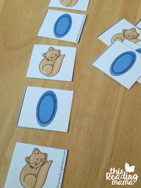making patterns with cut and pattern cards from Reading the Alphabet