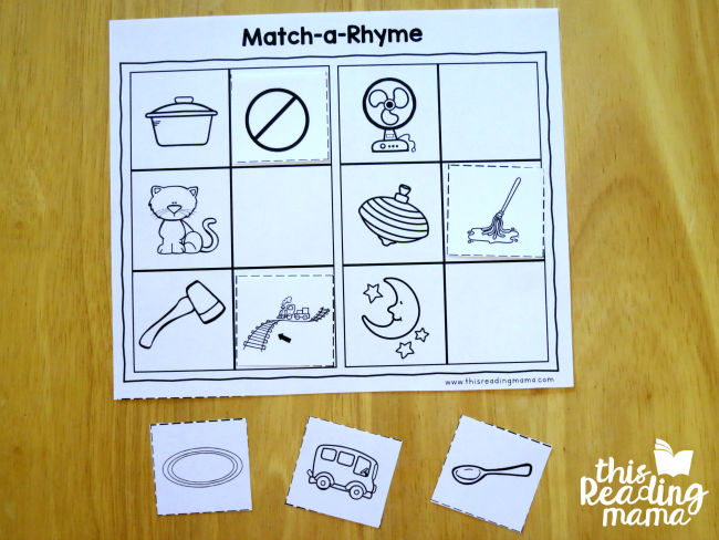 matching rhymes page from Reading the Alphabet word family lessons