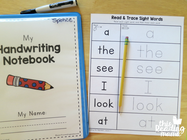 read and trace sight word page from Reading the Alphabet word family lessons