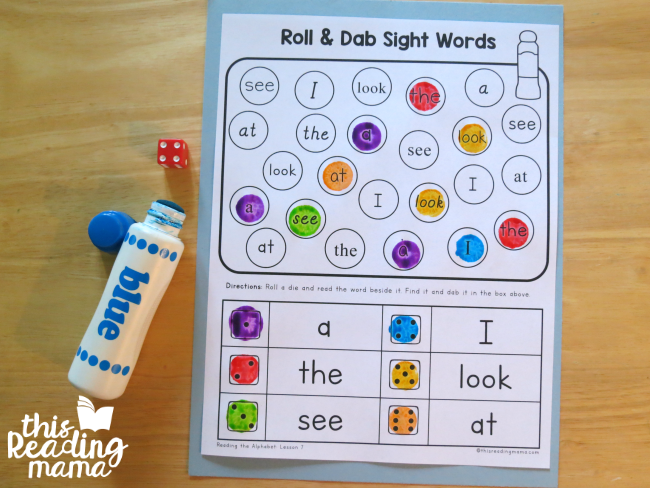 roll and dab sight word review from Reading the Alphabet