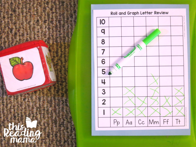 roll and graph letter sound review from Reading the Alphabet