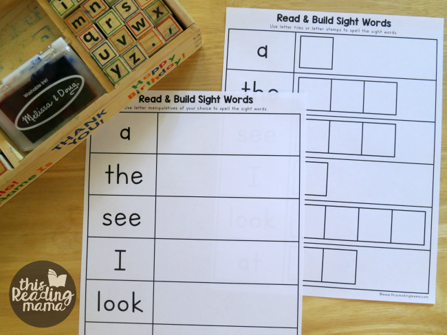 sight word building pages from Reading the Alphabet