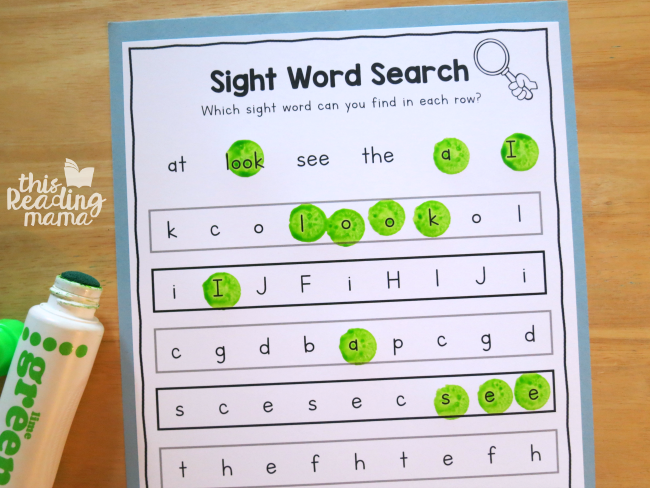 sight word review search from Reading the Alphabet word family lessons