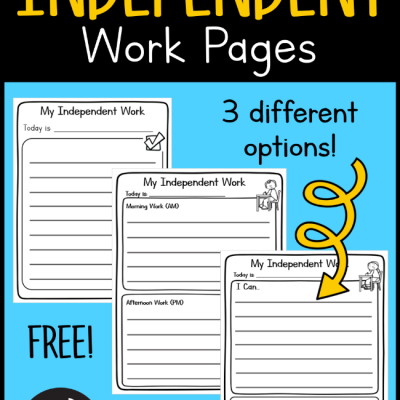 Printable Independent Work Pages
