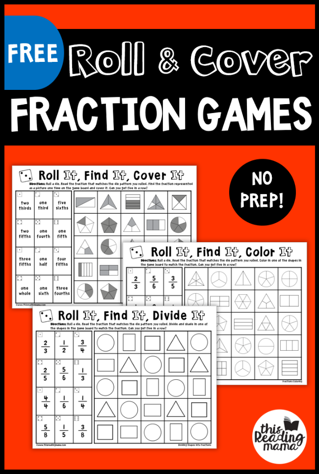 No Prep Fraction Games - Roll and Cover - This Reading Mama