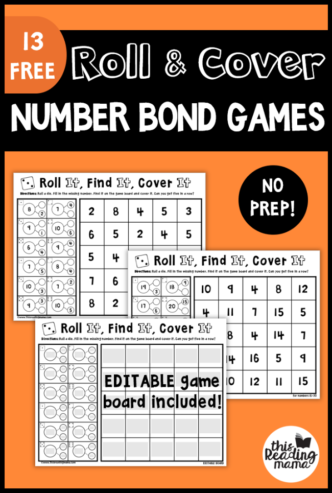 No Prep Number Bond Games: Roll & Cover