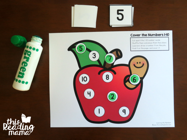 dot the number for 1-10 from Learning the Alphabet