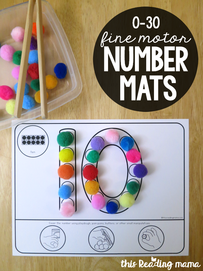 0-30 Fine Motor Number Mats - This Reading Mama