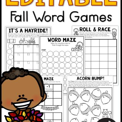 Editable Fall Word Games