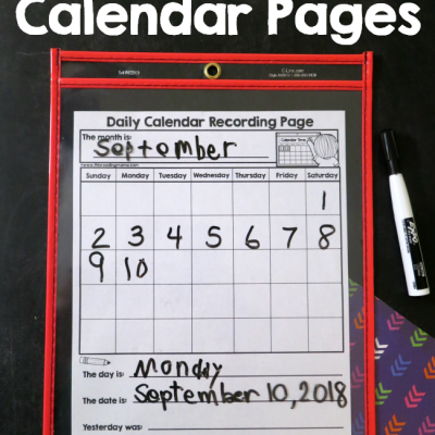 Individual Calendar Page for Kids