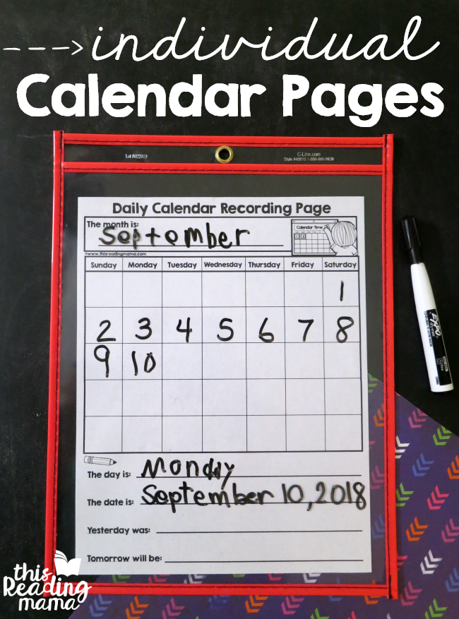 Individual Calendar Pages - free from This Reading Mama