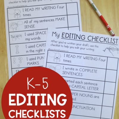 Free Editing Checklists for K-5 Learners