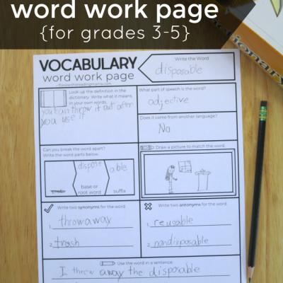 Vocabulary Graphic Organizer for Grades 3-5