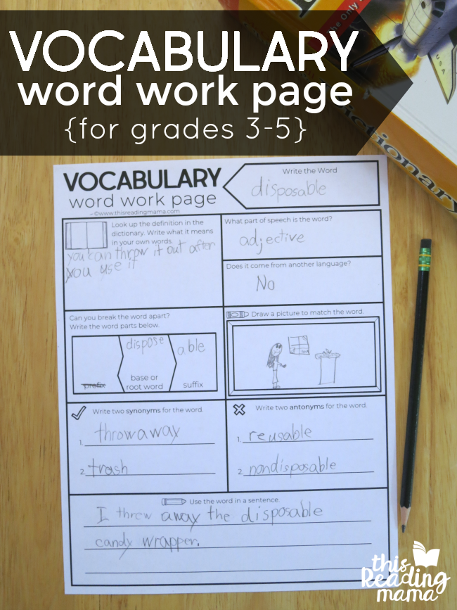 Free Vocabulary Graphic Organizer for Grades 3-5 - This Reading Mama