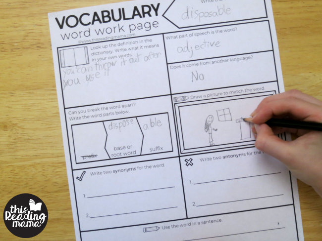 drawing a picture of the vocabulary word