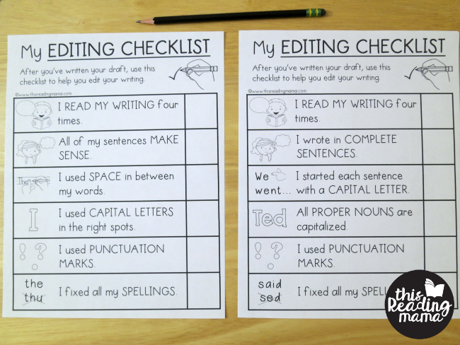 editing checklists for k-5 learners