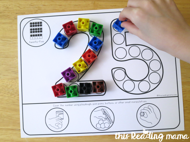 free fine motor number mats for numbers 0-30