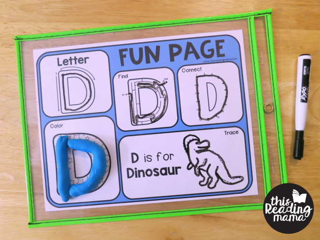 uppercase alphabet fun page in a dry erase pocket