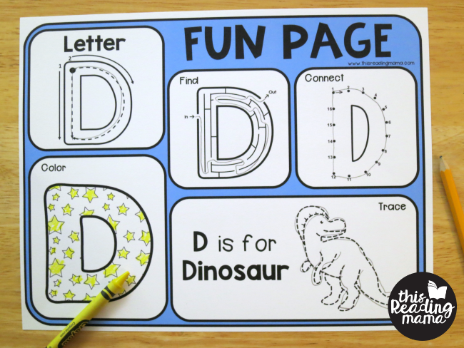 uppercase alphabet fun page - letter D example
