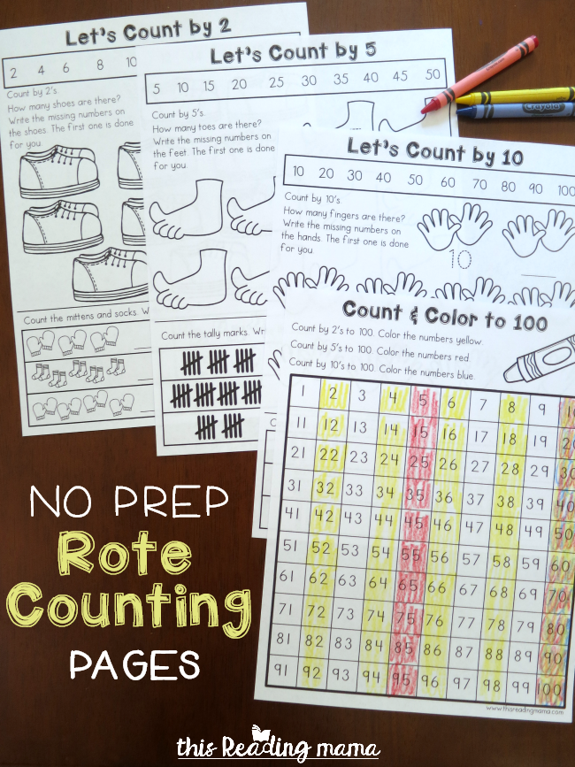 No Prep Rote Counting Pages - free for 2, 5, & 10 - This Reading Mama