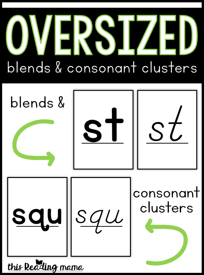 Oversized Blends Cards and Consonant Clusters Cards - This Reading Mama
