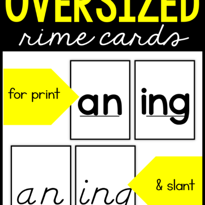 Oversized Rime Cards for Spelling