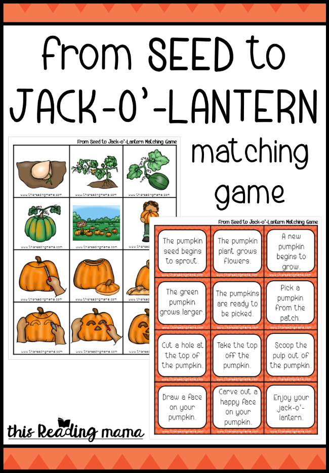 Pumpkin Sequencing Game - This Reading Mama