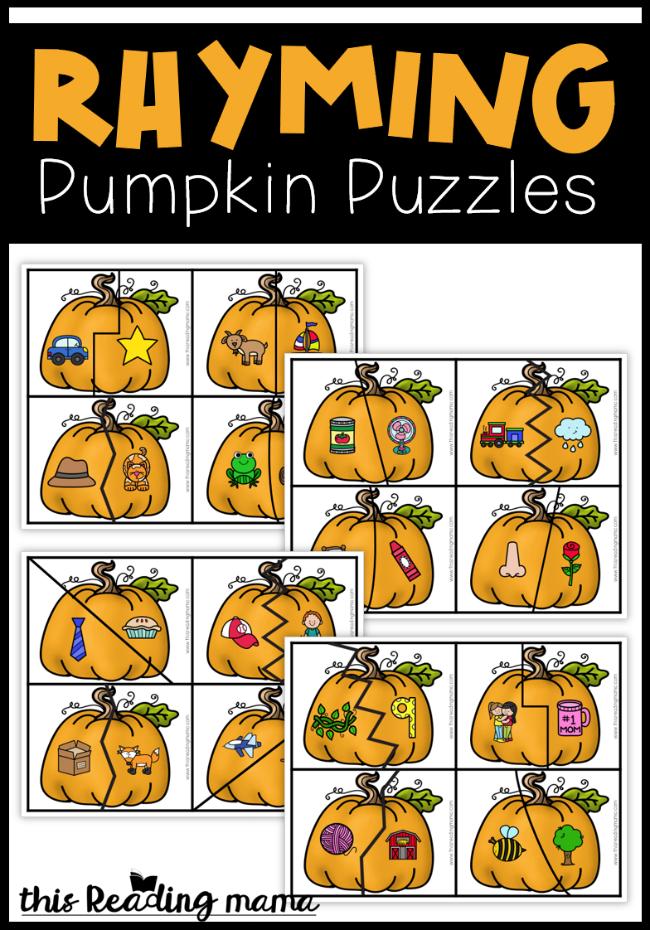 Rhyming Pumpkin Puzzles - free - This Reading Mama
