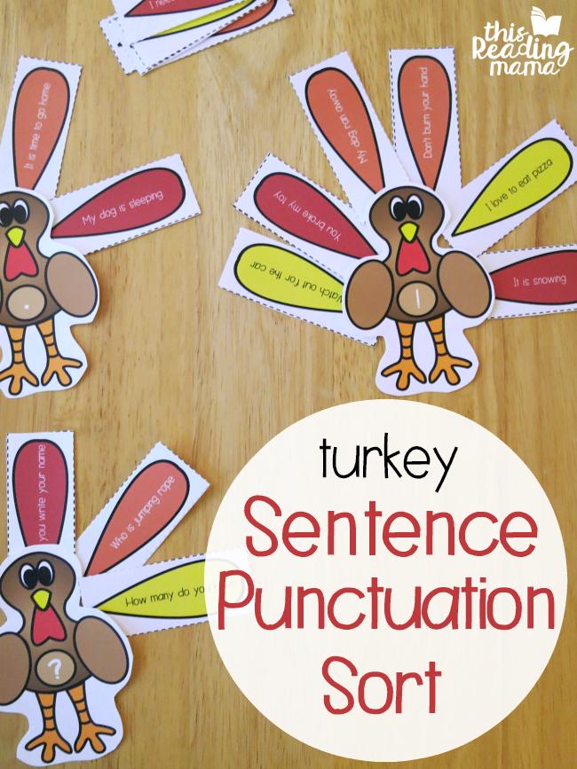 Turkey Sentence Punctuation Sorts - This Reading Mama