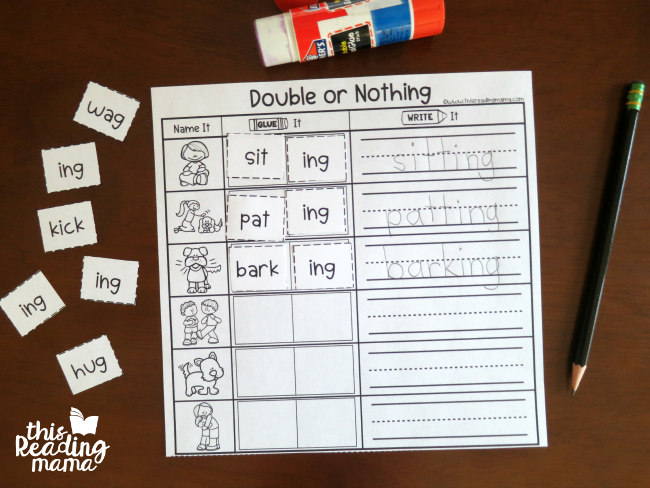 1-1-1 Doubling Rule Page - cut, paste, and write the words