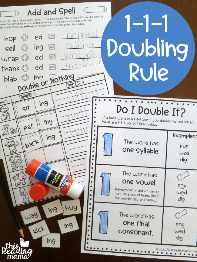 1-1-1 Doubling Rule Printables - This Reading Mama