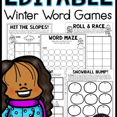 Editable Winter Word Games