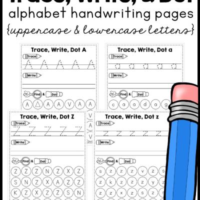 Alphabet Handwriting Pages – Trace, Write, Dot
