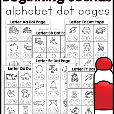 Beginning Sounds Alphabet Dot Pages