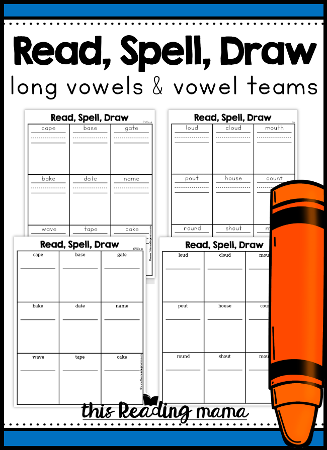 Long Vowels & Vowel Team Phonics Pages - Read, Spell, Draw - This Reading Mama