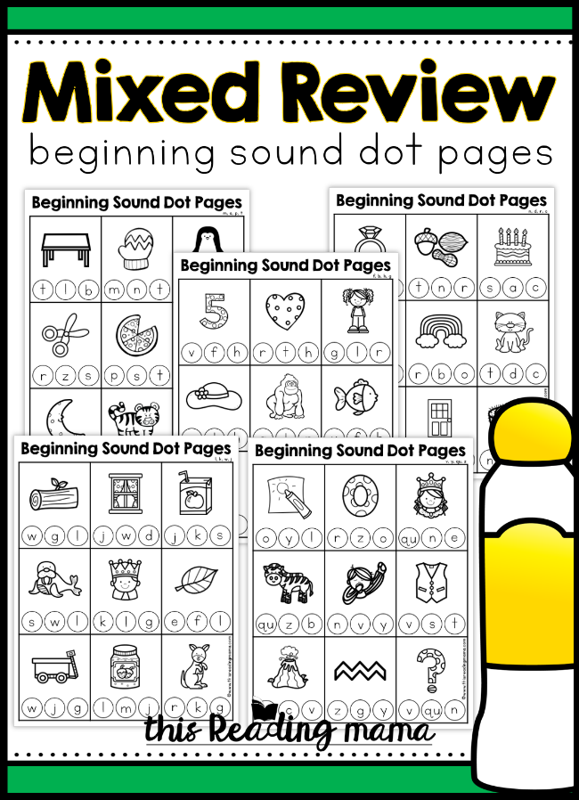 Mixed Review Beginning Sound Dot Pages - This Reading Mama
