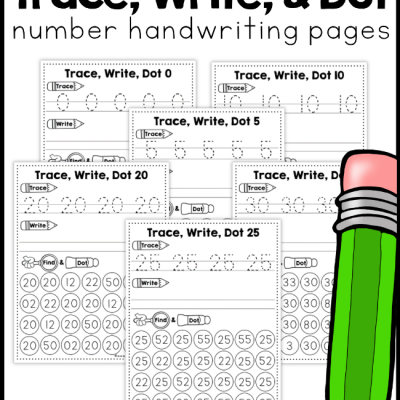 Number Handwriting Pages – Trace, Write, Dot