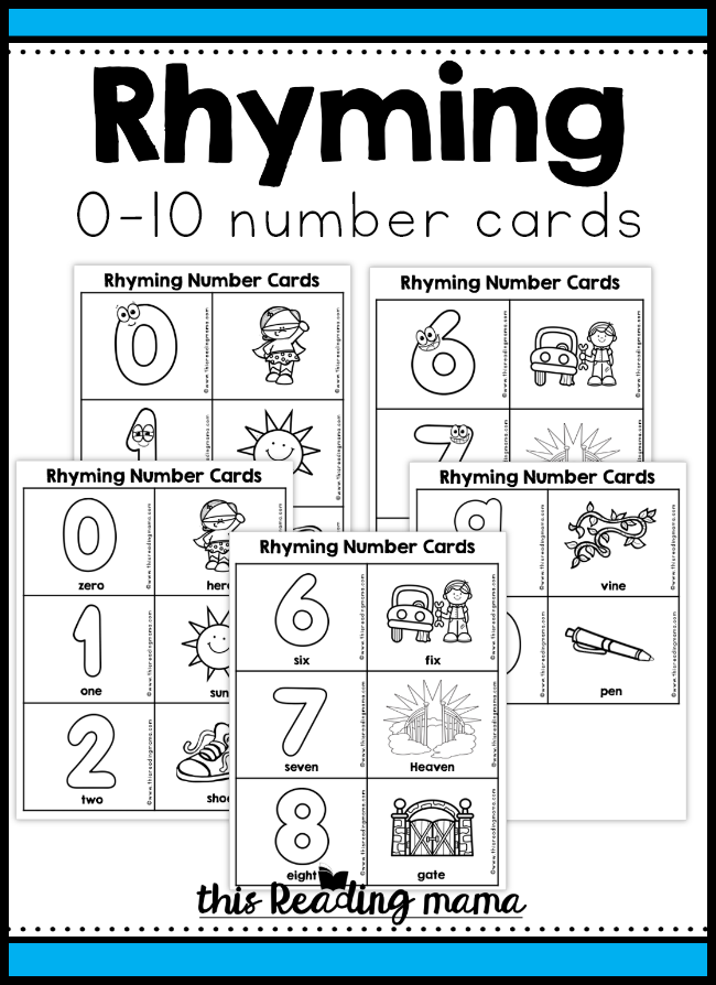 Rhyming Number Cards (0-10) - This Reading Mama